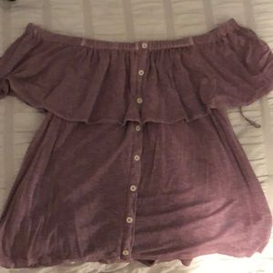 off-the-shoulder purple short sleeve with buttons